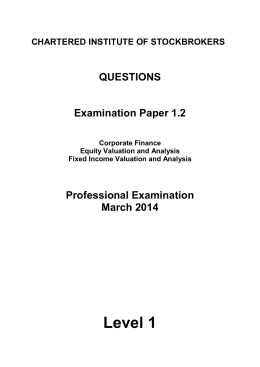 Level 1 QUESTIONS Examination Paper 1.2