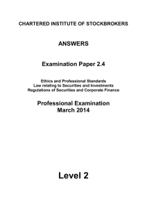 ANSWERS Examination Paper 2.4 CHARTERED INSTITUTE OF STOCKBROKERS