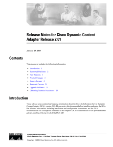 Release Notes for Cisco Dynamic Content  Contents