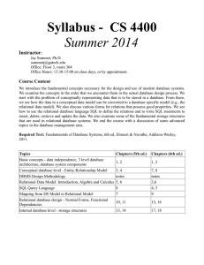 Syllabus -  CS 4400 Summer 2014 Instructor