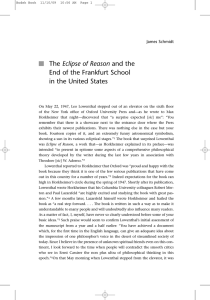 Eclipse of Reason End of the Frankfurt School in the United States