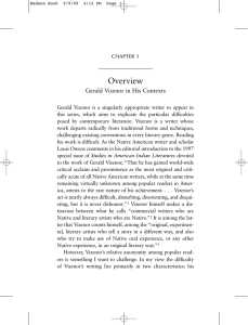 Overview Gerald Vizenor in His Contexts CHAPTER 1