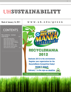 SUSTAINABILITY UH CONTENTS Week of January 16, 2011