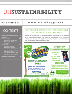 SUSTAINABILITY UH CONTENTS Week of February 3, 2012