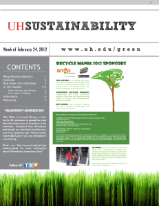 SUSTAINABILITY UH CONTENTS Week of February 24, 2012