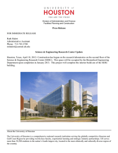 Press Release  Science & Engineering Research Center Update FOR IMMEDIATE RELEASE
