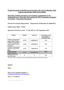 Prompt Payments by Health Service Executive, the Local Authorities, State