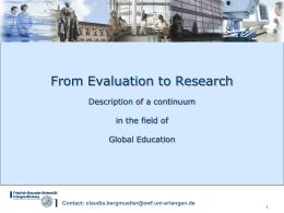 From Evaluation to Research Description of a continuum in the field of