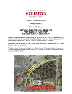 Press Release SIDEWALK CLOSURE ON WHEELER AVE FROM TUESDAY, AUGUST 31