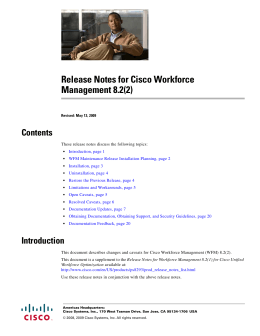 Release Notes for Cisco Workforce Management 8.2(2) Contents