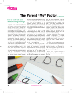 "education The Parent ""Me"" Factor How to work with your"