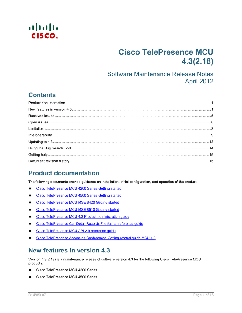 Cisco TelePresence MCU 4 3(2 18) Software Maintenance
