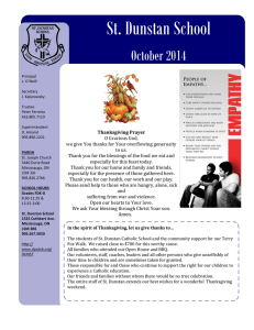 St. Dunstan School  October 2014 Thanksgiving Prayer