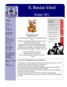 St. Dunstan School  October 2015 Thanksgiving Prayer