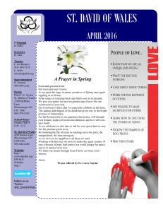 ST. DAVID OF WALES APRIL 2016 A Prayer in Spring