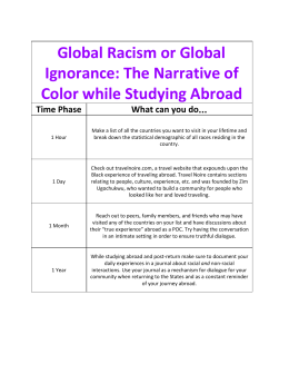 Global Racism or Global  Ignorance: The Narrative of  Color while Studying Abroad Time Phase