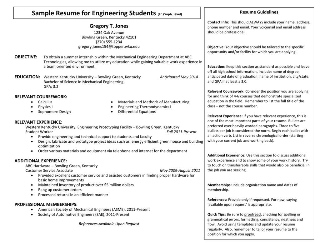 Sample Resume For Engineering Students Gregory T Jones Resume