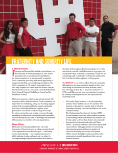 F FRATERNITY AND SORORITY LIFE A Proud History