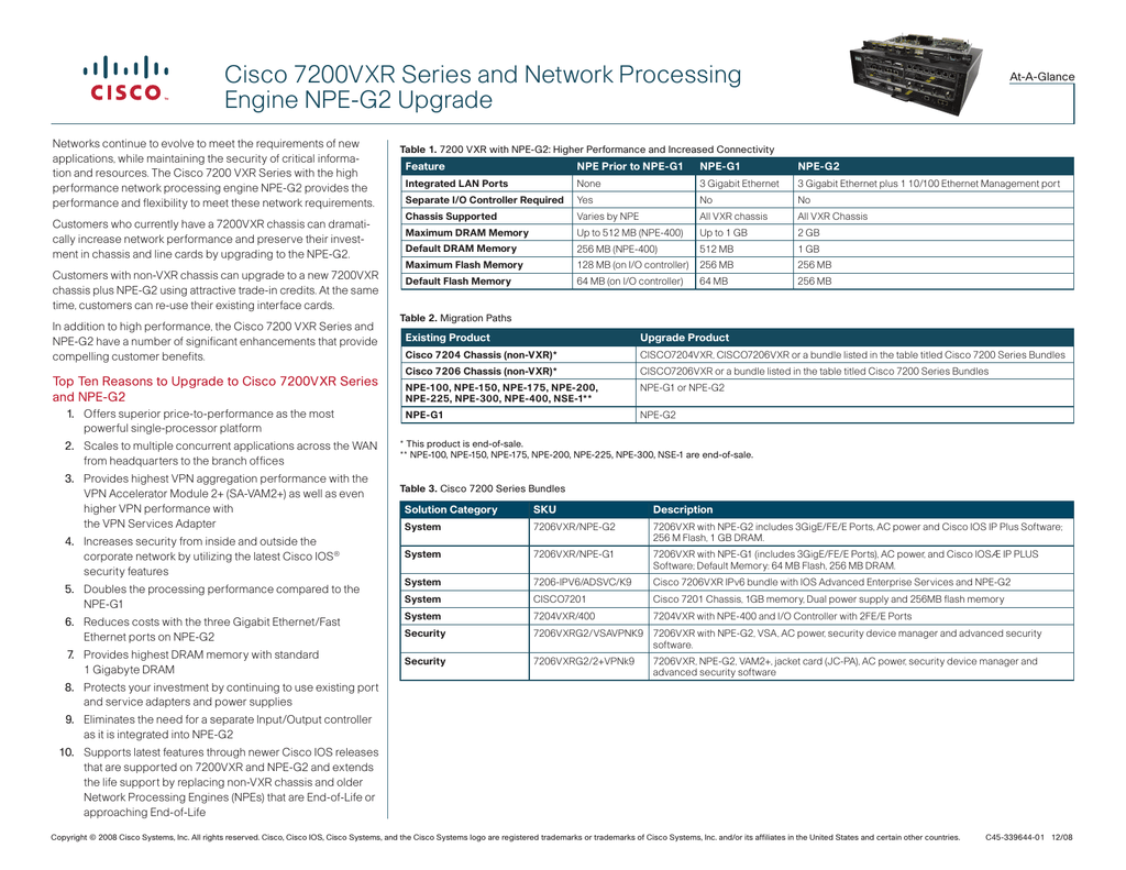 Cisco 7200VXR Series and Network Processing Engine NPE-G2 Upgrade