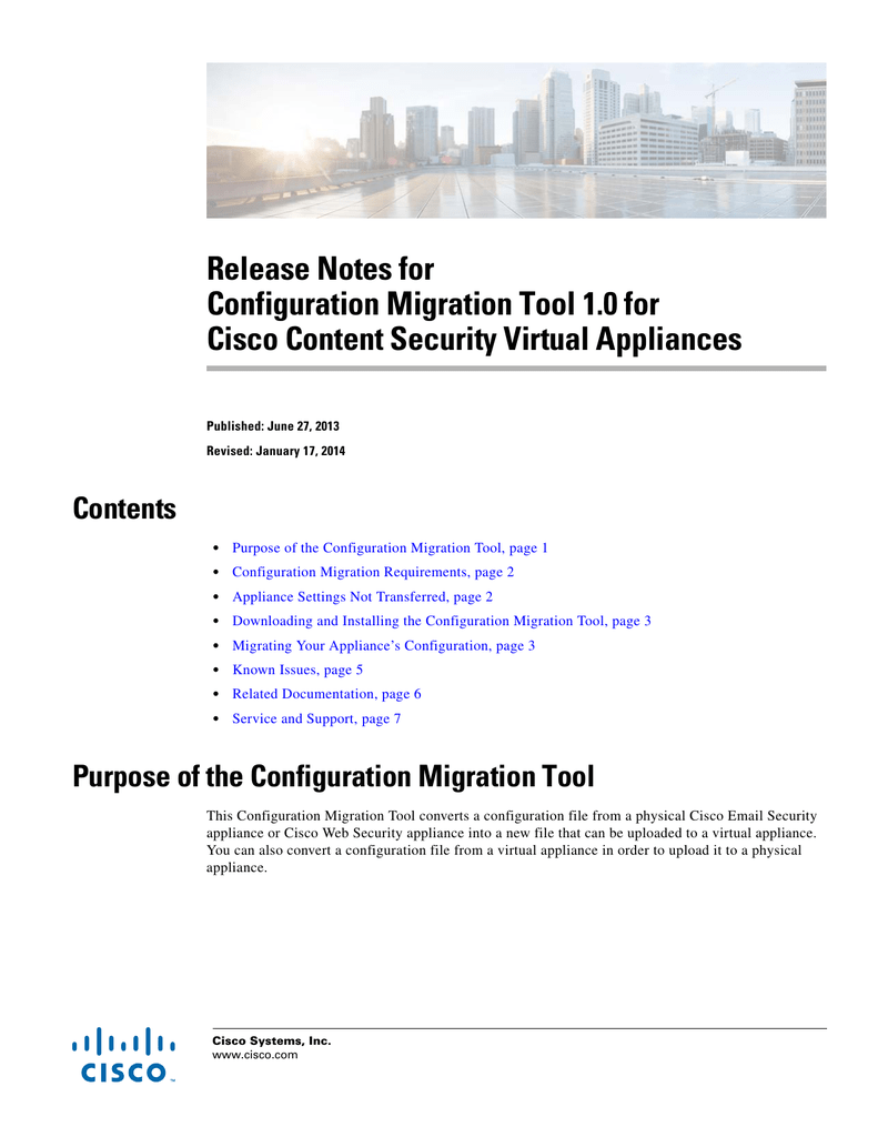 Release Notes for Configuration Migration Tool 1 0 for Contents
