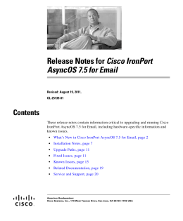 Cisco IronPort AsyncOS 7.5 for Email Contents
