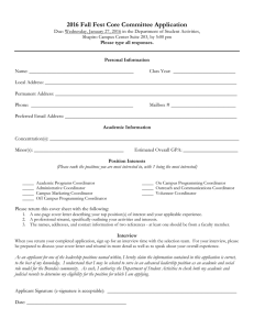 2016 Fall Fest Core Committee Application