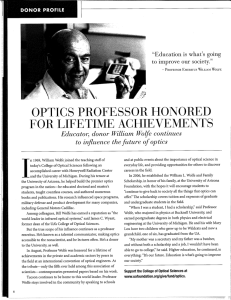 HOI\ORED PROF'ESSOR OPTICS FOR LIFTTIME ACHIEVEMTI\TS