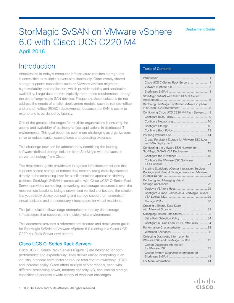 StorMagic SvSAN on VMware vSphere 6 0 with Cisco UCS C220 M4