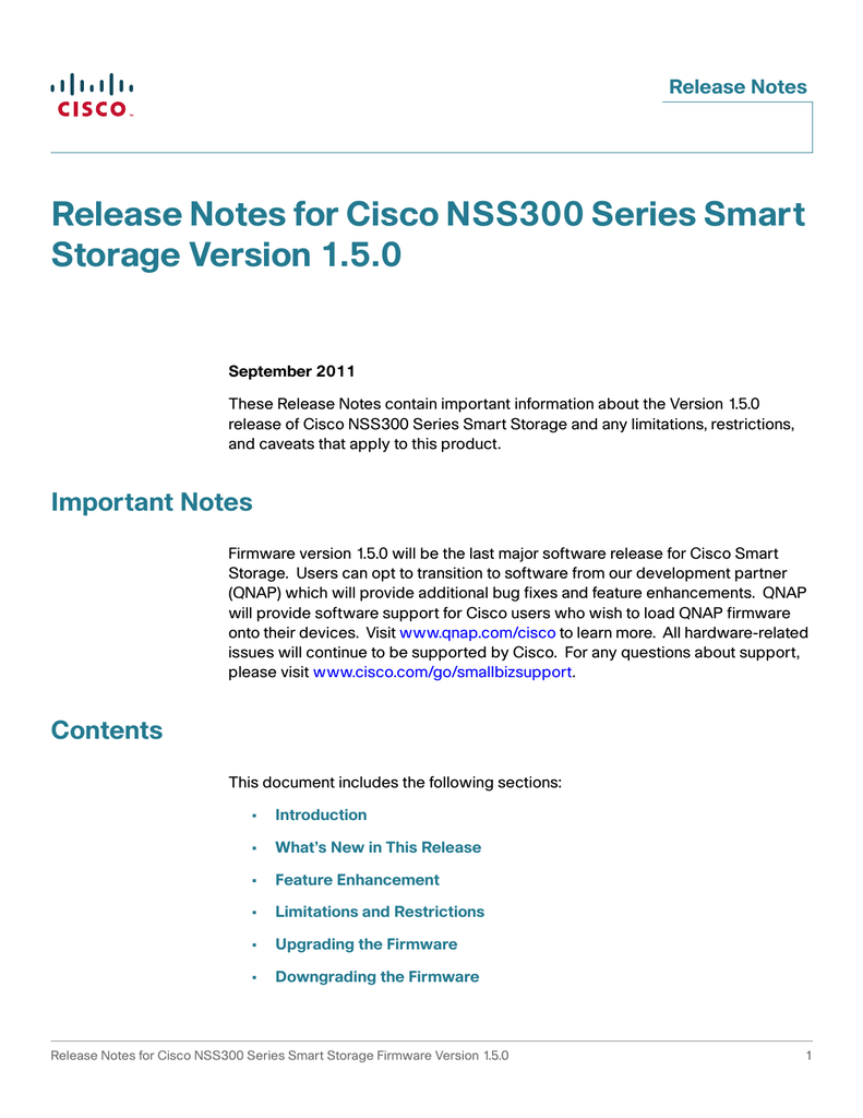 Release Notes for Cisco NSS300 Series Smart Storage Version 1 5 0