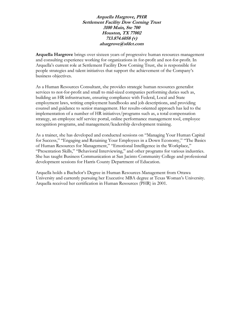 Arquella Hargrove Phr Settlement Facility Dow Corning Trust 3100