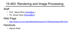 15-463: Rendering and Image Processing Staff Web Page Handouts