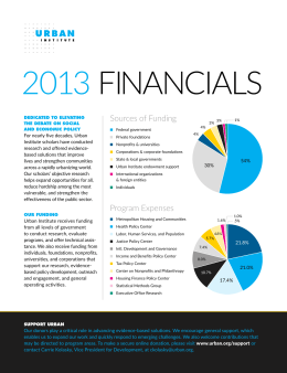 2013 FINANCIALS Sources of Funding For nearly five decades, Urban