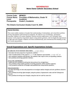 Grade 10, Academic Department of Mathematics St  Edmund