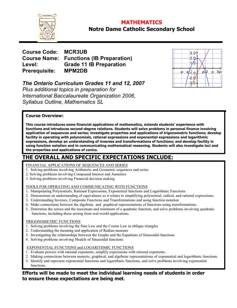 Notre Dame Catholic Secondary School Course Code: MCR3UB