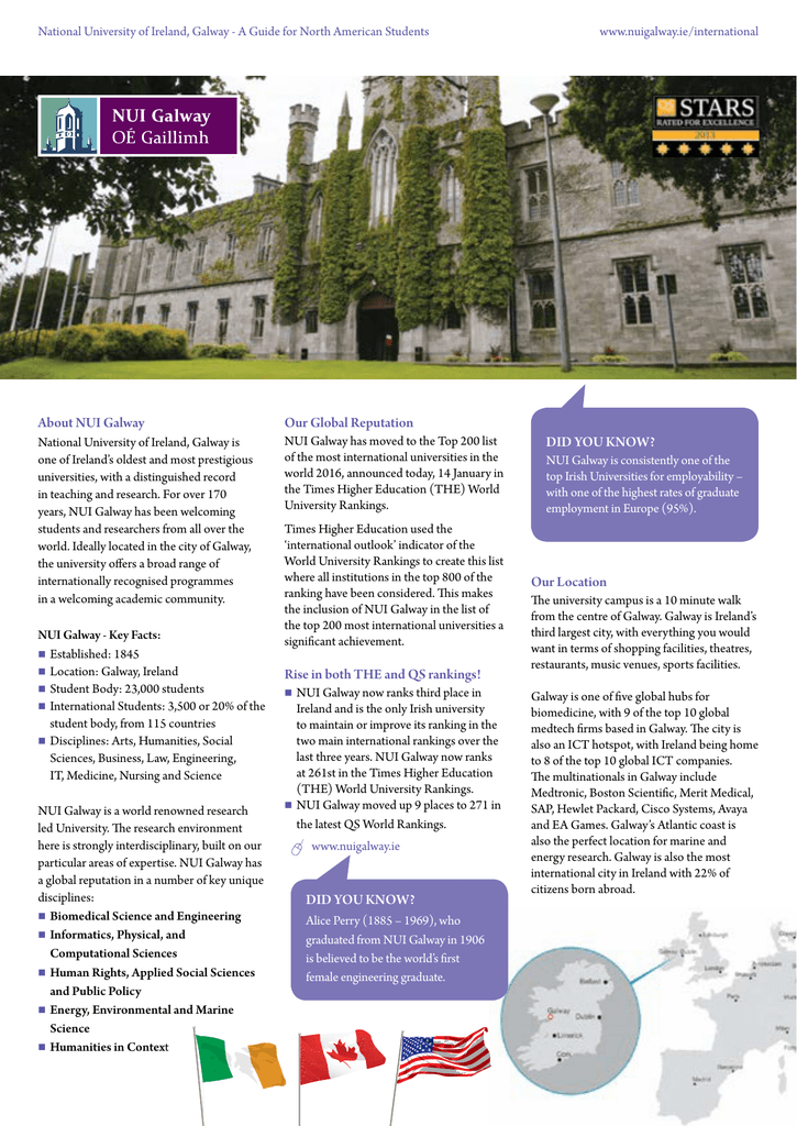 National University Of Ireland Galway A Guide For North Www Nuigalway Ie International