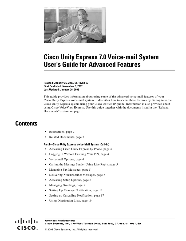 Cisco Unity Express 7 0 Voice-mail System User's Guide for