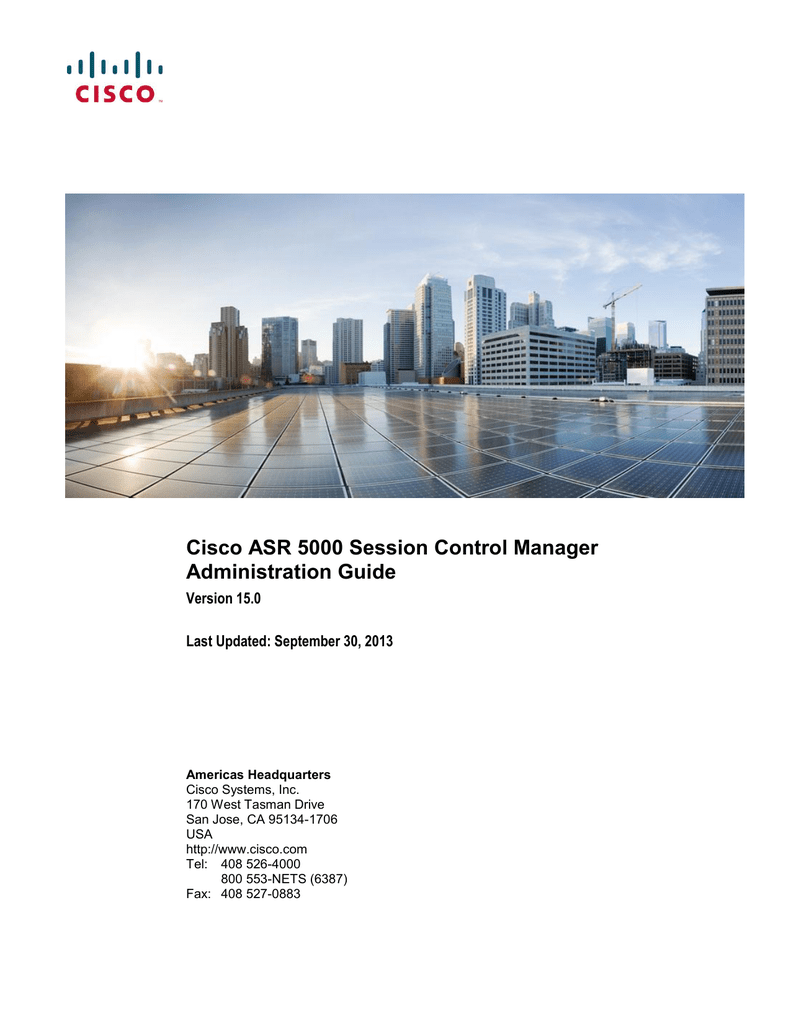 Cisco ASR 5000 Session Control Manager Administration Guide Version 15 0