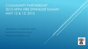 COMMUNITY PARTNERSHIP 2015 NFPA FIRE SPRINKLER SUMMIT MAY 12 & 13, 2015