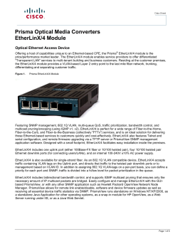 Prisma Optical Media Converters EtherLinX/4 Module  Optical Ethernet Access Device