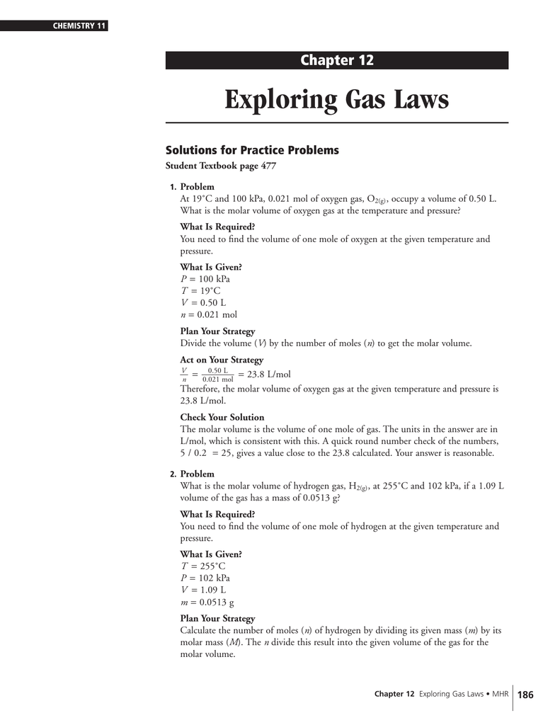 worksheet Molar Volume Worksheet exploring gas laws chapter 12 solutions for practice problems