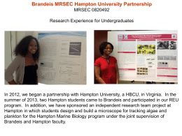 Brandeis MRSEC Hampton University Partnership