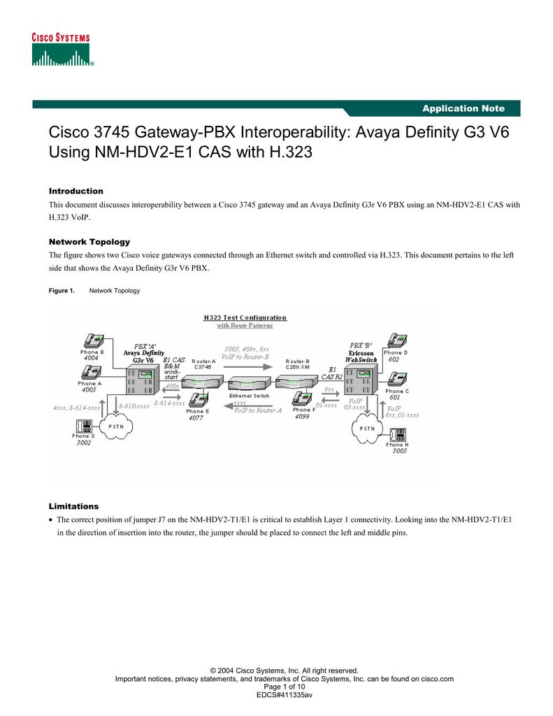 Cisco 3745 Gateway-PBX Interoperability: Avaya Definity G3 V6 Application  Note
