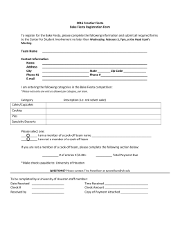 2016 Frontier Fiesta Bake Fiesta Registration Form