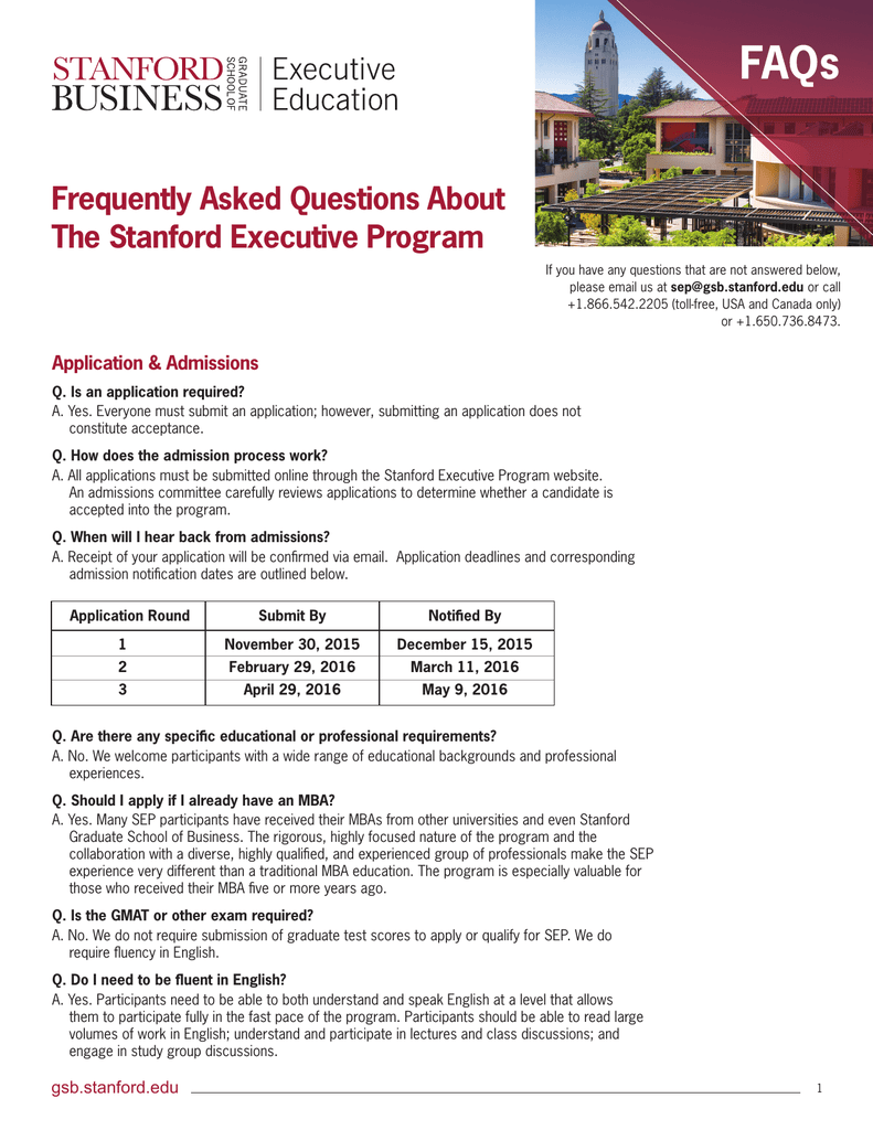 FAQs Frequently Asked Questions About The Stanford Executive Program