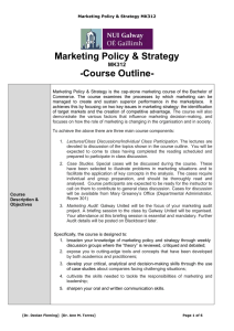 Marketing Policy & Strategy -Course Outline- MK312