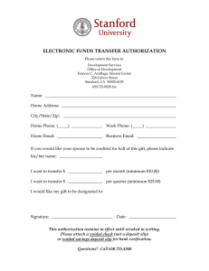 ELECTRONIC FUNDS TRANSFER AUTHORIZATION