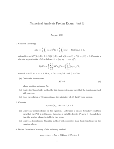 Numerical Analysis Prelim Exam: Part B August, 2011