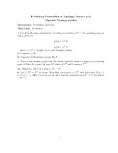 Preliminary Examination in Topology: January 2013 Algebraic Topology portion Instructions