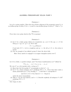 ALGEBRA PRELIMINARY EXAM: PART I Problem 1
