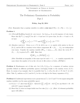 Preliminary Examination in Probability, Part I Page: 1 of 1